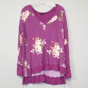 Staccato floral waffle knit thermal top size M